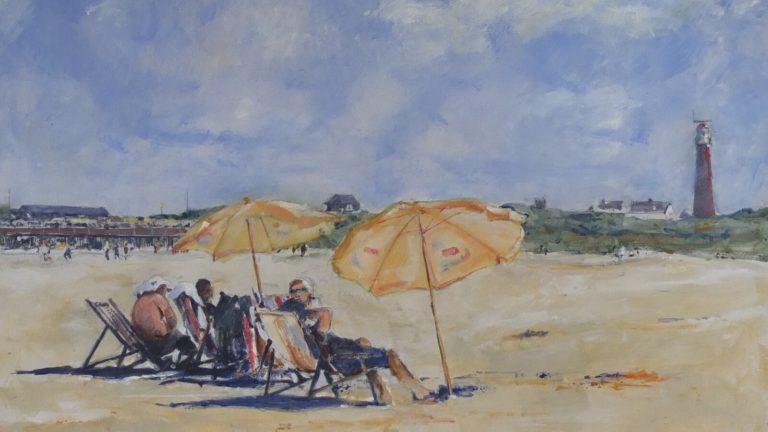 Strand met ligstoel Schiermonnikoog (aquarel)
