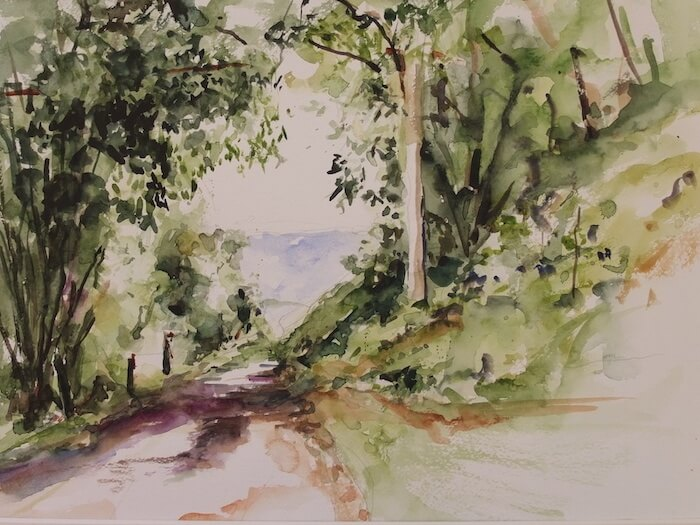 Landweg in de Morvan, Frankrijk (aquarel)
