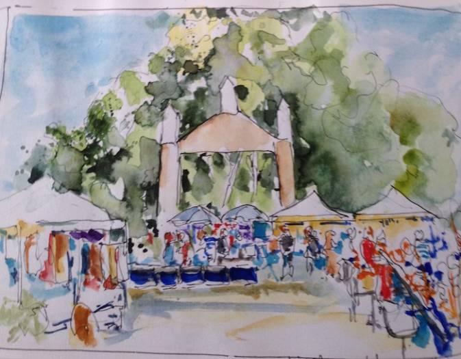 Hippiemarkt La Palma (dagboekschets/aquarel)