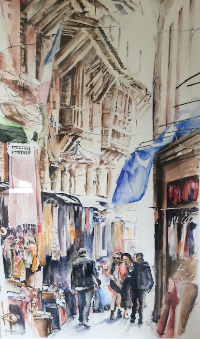 Straatje in Nepal / aquarel