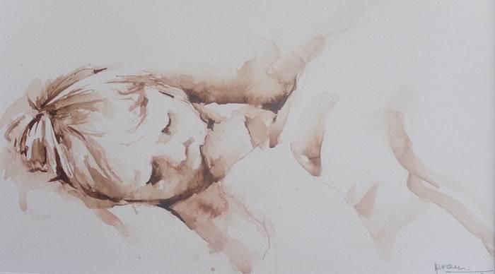 Slapend kind (aquarel in bister)