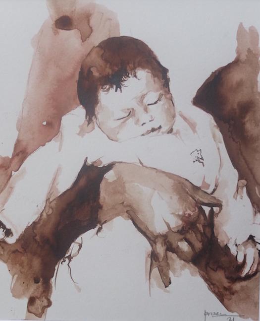 Slapende baby (aquarel in bister)