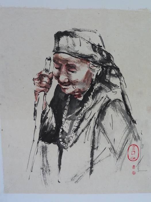 Nepalese vrouw bister op geschept papier